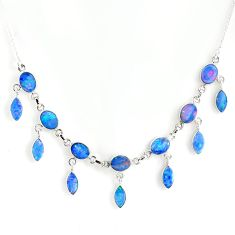 26.57cts natural blue doublet opal australian 925 silver necklace r56122
