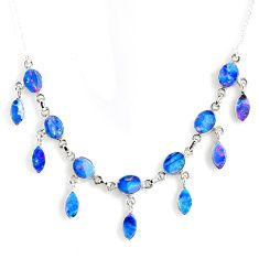 26.30cts natural blue doublet opal australian 925 silver necklace r56124