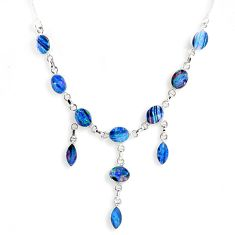 25.94cts natural blue doublet opal australian 925 silver necklace r56126