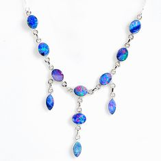 21.47cts natural blue doublet opal australian 925 silver necklace r56129