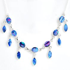 23.67cts natural blue doublet opal australian 925 silver necklace r56130