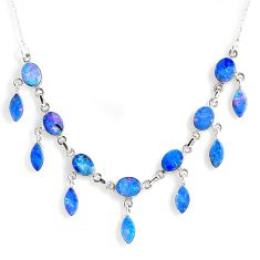 23.54cts natural blue doublet opal australian 925 silver necklace r56132