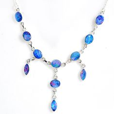 20.54cts natural blue doublet opal australian 925 silver necklace r56133
