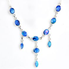 19.89cts natural blue doublet opal australian 925 silver necklace r56134