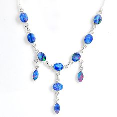 20.54cts natural blue doublet opal australian 925 silver necklace r56136