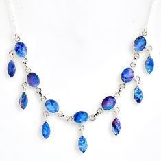 22.93cts natural blue doublet opal australian 925 silver necklace r56137