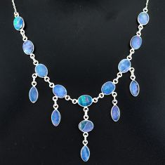 25.05cts natural blue doublet opal australian 925 silver necklace r94023
