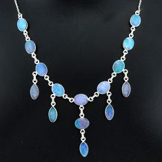 25.65cts natural blue doublet opal australian 925 silver necklace r94025