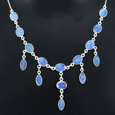 25.12cts natural blue doublet opal australian 925 silver necklace r94028