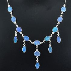 25.07cts natural blue doublet opal australian 925 silver necklace r94030