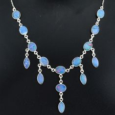 25.07cts natural blue doublet opal australian 925 silver necklace r94031