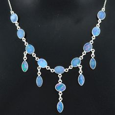 25.05cts natural blue doublet opal australian 925 silver necklace r94032