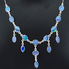 24.67cts natural blue doublet opal australian 925 silver necklace r94034