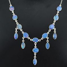 25.07cts natural blue doublet opal australian 925 silver necklace r94036