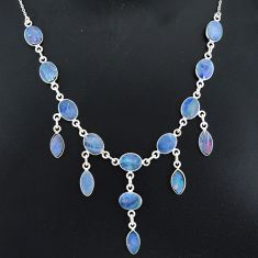 25.15cts natural blue doublet opal australian 925 silver necklace r94038