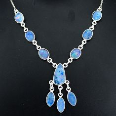 17.66cts natural blue doublet opal australian 925 silver necklace r94041