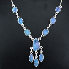17.20cts natural blue doublet opal australian 925 silver necklace r94042