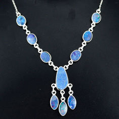 17.64cts natural blue doublet opal australian 925 silver necklace r94043