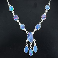17.18cts natural blue doublet opal australian 925 silver necklace r94045