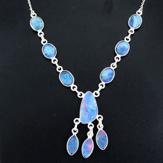 18.10cts natural blue doublet opal australian 925 silver necklace r94046