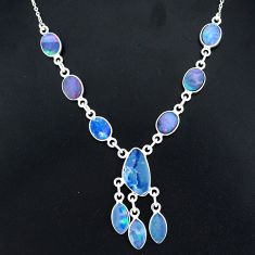 17.66cts natural blue doublet opal australian 925 silver necklace r94048