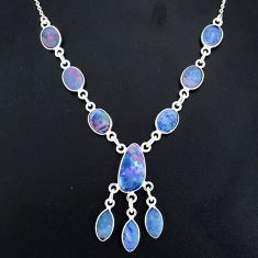 18.10cts natural blue doublet opal australian 925 silver necklace r94049