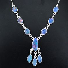 17.18cts natural blue doublet opal australian 925 silver necklace r94051