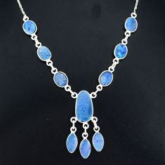 17.69cts natural blue doublet opal australian 925 silver necklace r94052