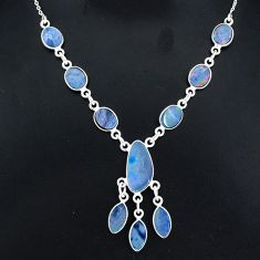 17.20cts natural blue doublet opal australian 925 silver necklace r94054