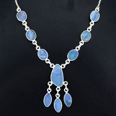 18.15cts natural blue doublet opal australian 925 silver necklace r94055