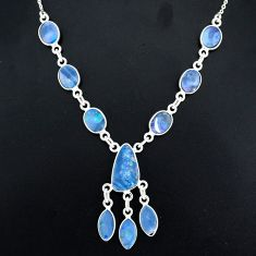 17.69cts natural blue doublet opal australian 925 silver necklace r94056