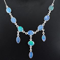 20.18cts natural blue doublet opal australian 925 silver necklace r94062