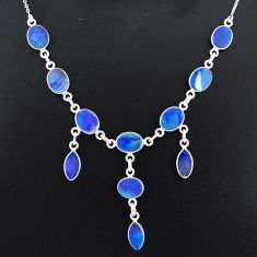 20.72cts natural blue doublet opal australian 925 silver necklace r94063
