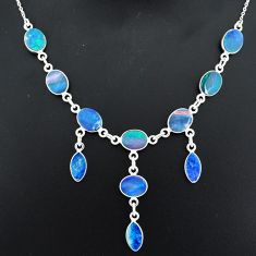 20.72cts natural blue doublet opal australian 925 silver necklace r94065