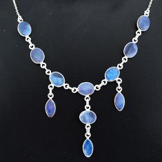 20.72cts natural blue doublet opal australian 925 silver necklace r94066