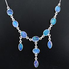 20.07cts natural blue doublet opal australian 925 silver necklace r94067