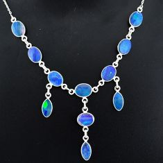 21.23cts natural blue doublet opal australian 925 silver necklace r94069