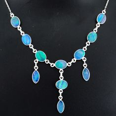 20.67cts natural blue doublet opal australian 925 silver necklace r94070