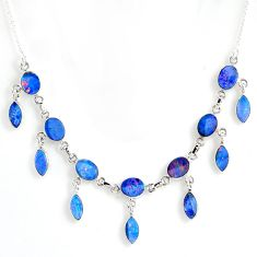 22.92cts natural blue doublet opal australian oval 925 silver necklace r56125