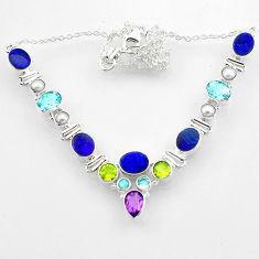 30.82cts natural blue doublet opal australian peridot 925 silver necklace r52289