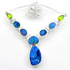 26.70cts natural blue doublet opal australian peridot 925 silver necklace r52294