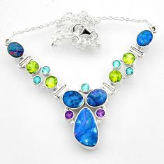 30.41cts natural blue doublet opal australian peridot silver necklace r52293