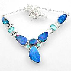 29.34cts natural blue doublet opal australian topaz 925 silver necklace r52277
