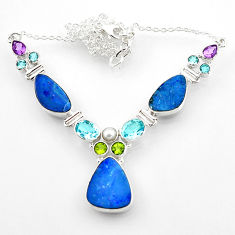 28.53cts natural blue doublet opal australian topaz 925 silver necklace r52278