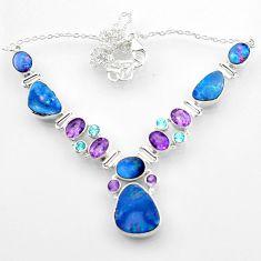 36.77cts natural blue doublet opal australian topaz 925 silver necklace r52279