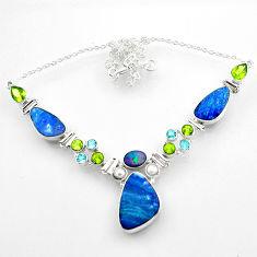 34.02cts natural blue doublet opal australian topaz 925 silver necklace r52285