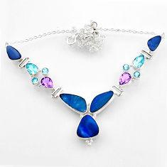 28.55cts natural blue doublet opal australian topaz 925 silver necklace r52292