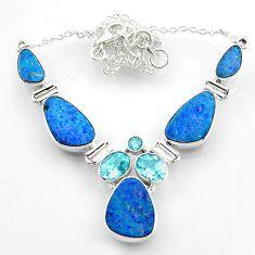 26.99cts natural blue doublet opal australian topaz 925 silver necklace r52297