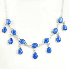29.22cts natural blue kyanite 925 sterling silver necklace jewelry r49381