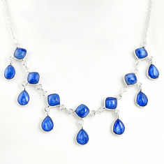 23.96cts natural blue kyanite 925 sterling silver necklace jewelry r49382
